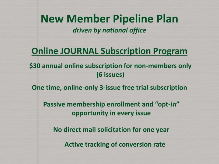 New Member Pipeline Plan
