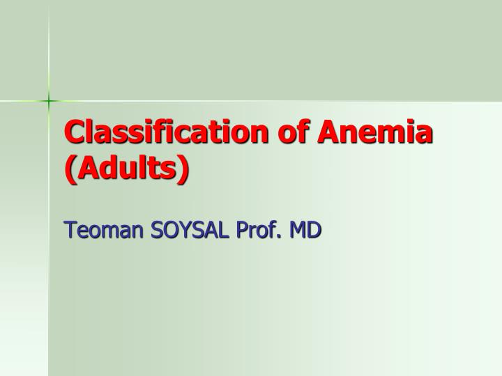 Classification of anemia adults