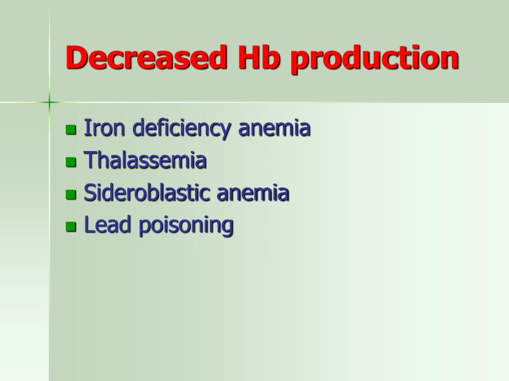 Decreased Hb production