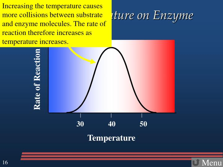 Increasing the temperature causes more collisions between substrate and enzyme molecules. The rate of reaction therefore increases as temperature increases.