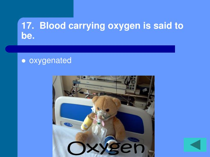 17.  Blood carrying oxygen is said to be.