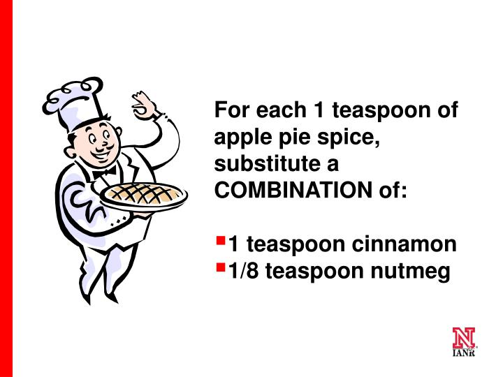 For each 1 teaspoon of apple pie spice, substitute a COMBINATION of: