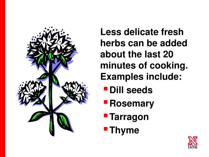 Less delicate fresh herbs can be added about the last 20 minutes of cooking. Examples include: