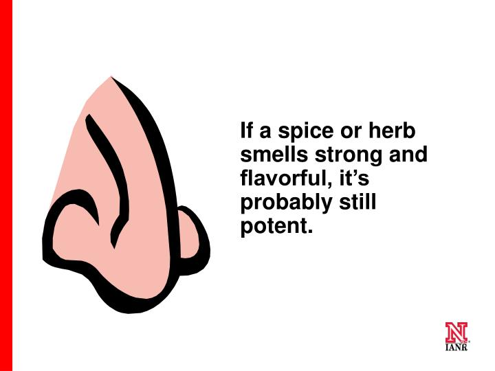 If a spice or herb smells strong and flavorful, it's probably still potent.