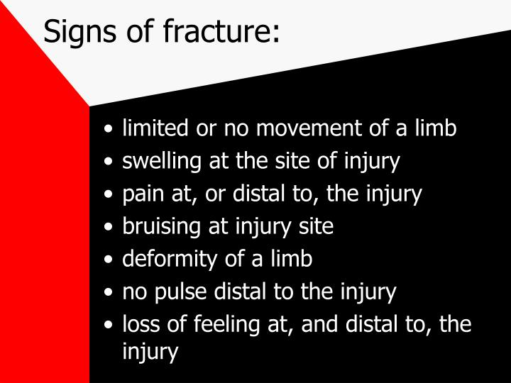 Signs of fracture: