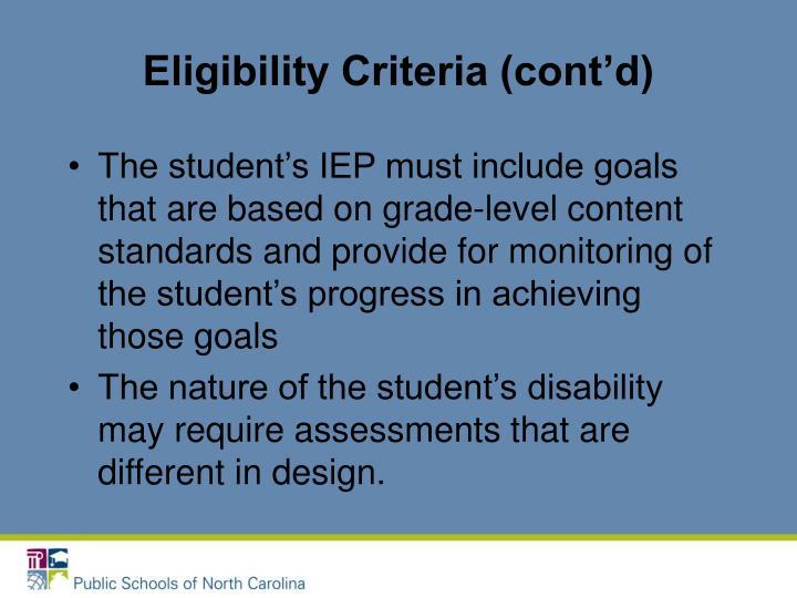 Eligibility Criteria (cont'd)