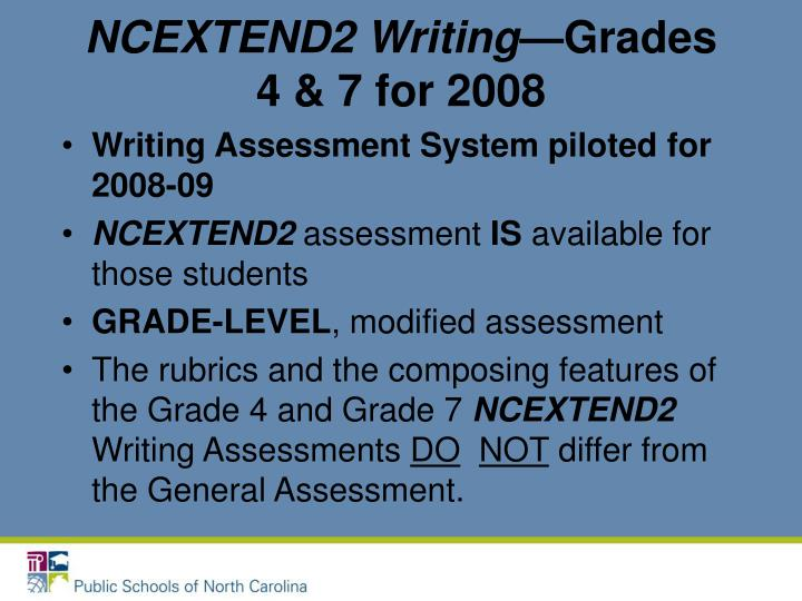 NCEXTEND2 Writing—