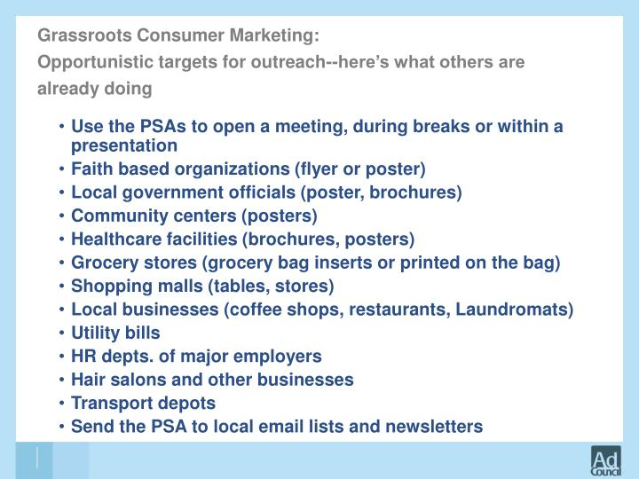 Grassroots Consumer Marketing:
