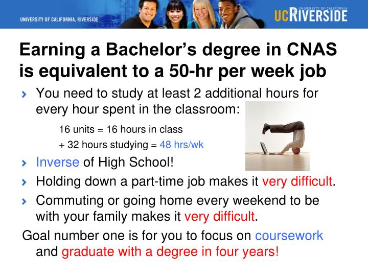 Earning a Bachelor's degree in CNAS is equivalent to a 50-hr per week job