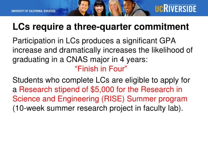 LCs require a three-quarter commitment