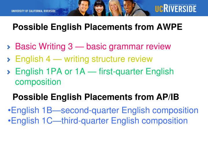 Possible English Placements from AWPE