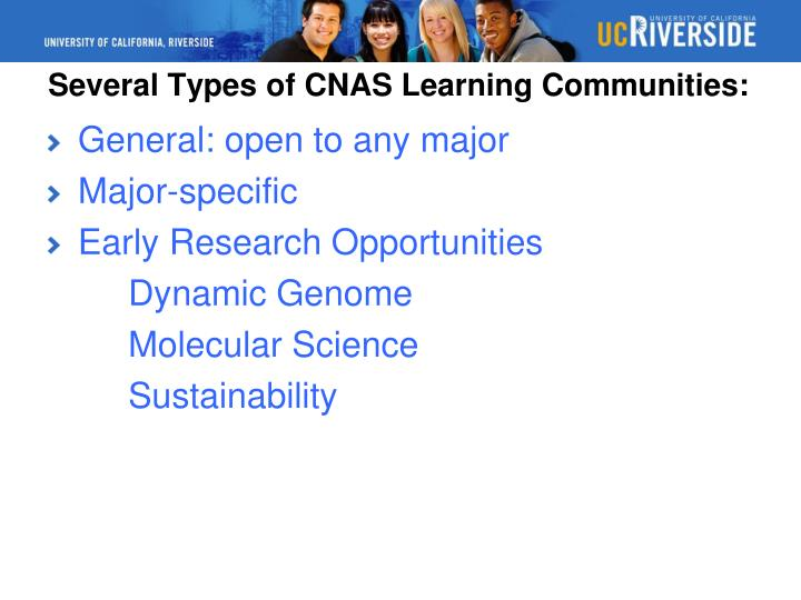 Several Types of CNAS Learning Communities: