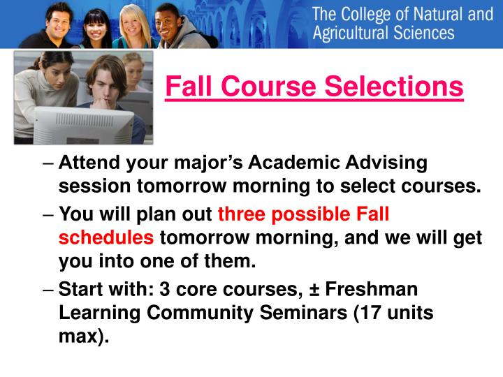 Fall Course Selections
