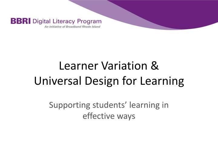 Learner Variation &