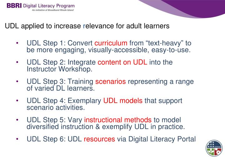 UDL applied to increase