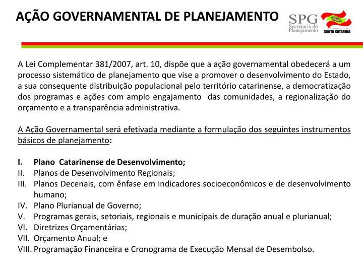 AÇÃO GOVERNAMENTAL DE PLANEJAMENTO