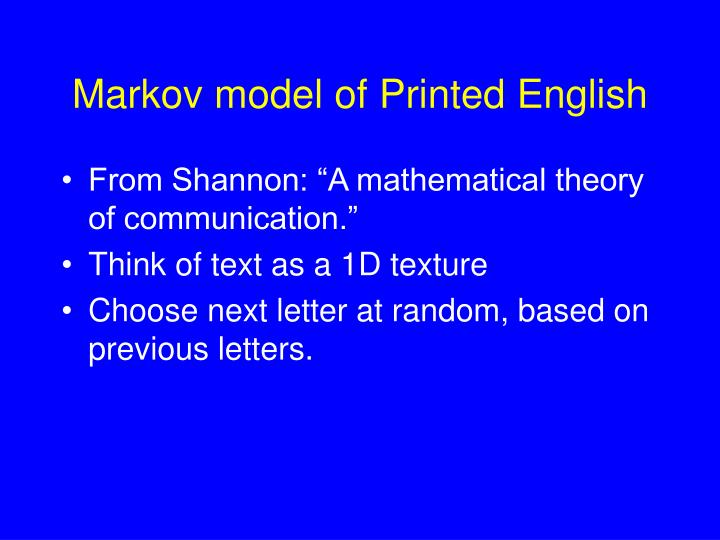 Markov model of Printed English