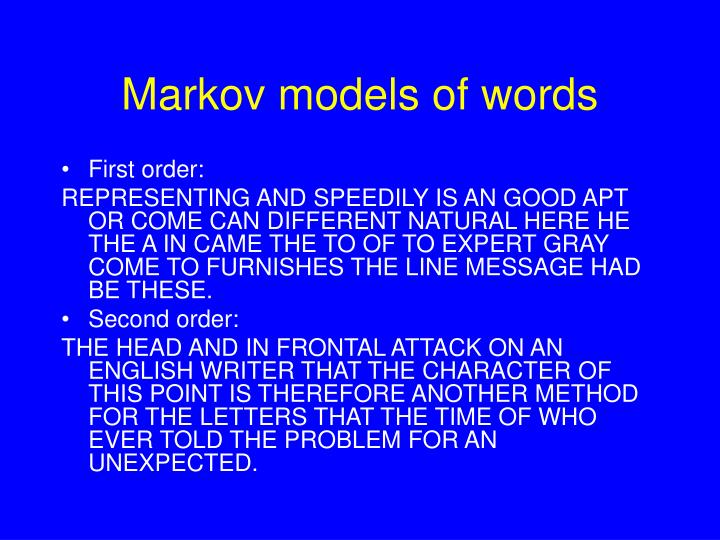 Markov models of words