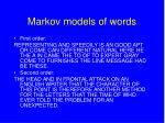 markov models of words