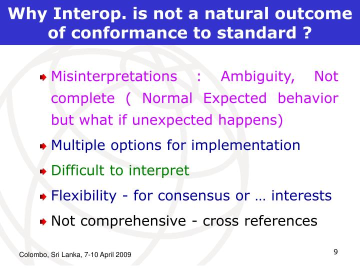 Why Interop. is not a natural outcome of conformance to standard ?
