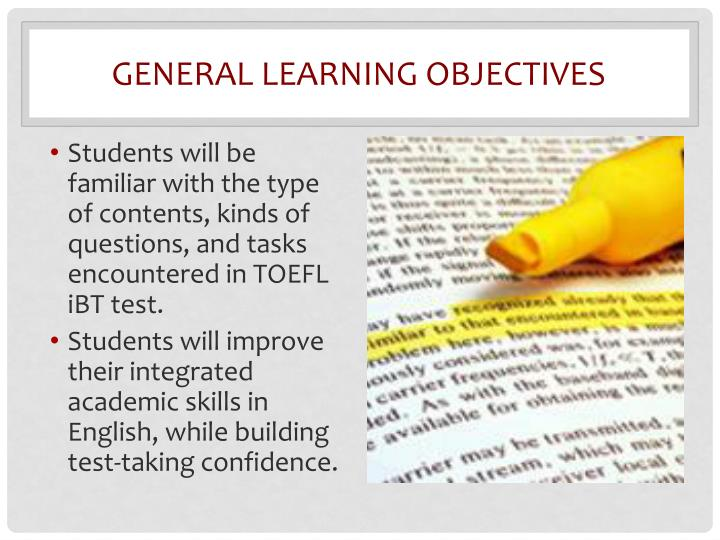 General learning objectives