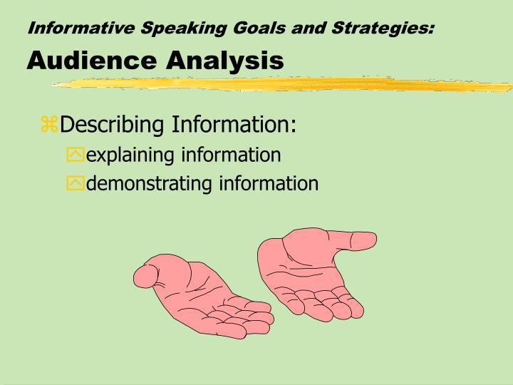 Informative Speaking Goals and Strategies: