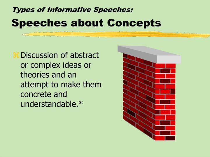 Types of Informative Speeches: