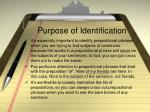 purpose of identification