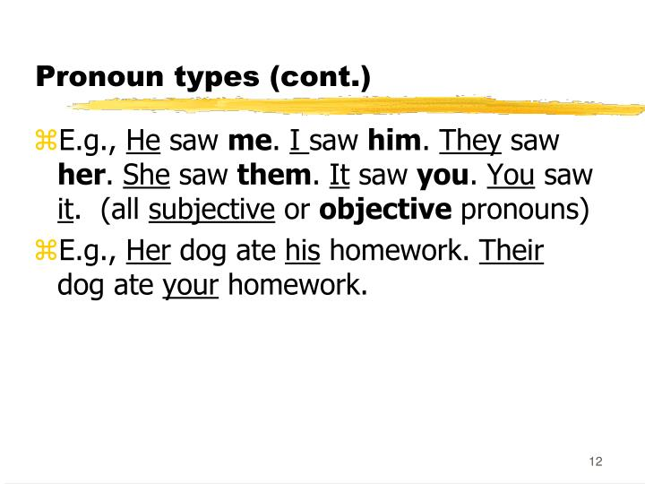 Pronoun types (cont.)