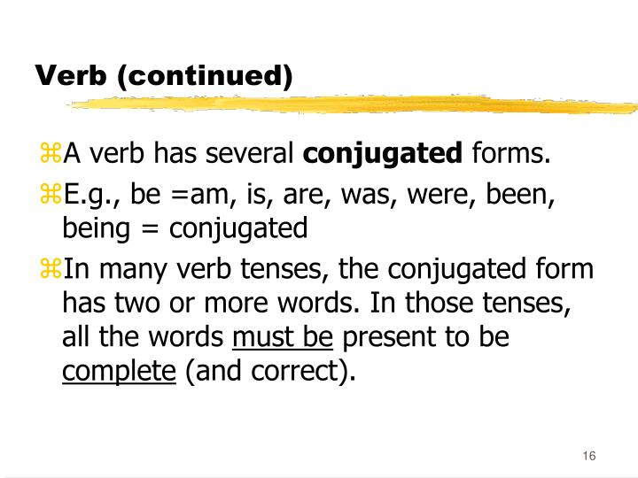 Verb (continued)