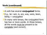 verb continued
