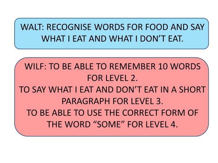 WALT: RECOGNISE WORDS FOR FOOD AND