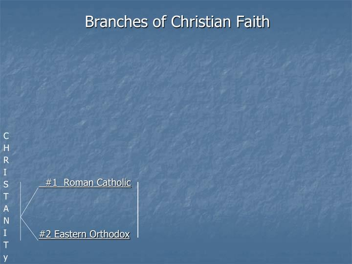 Branches of christian faith 1 roman catholic 2 eastern orthodox