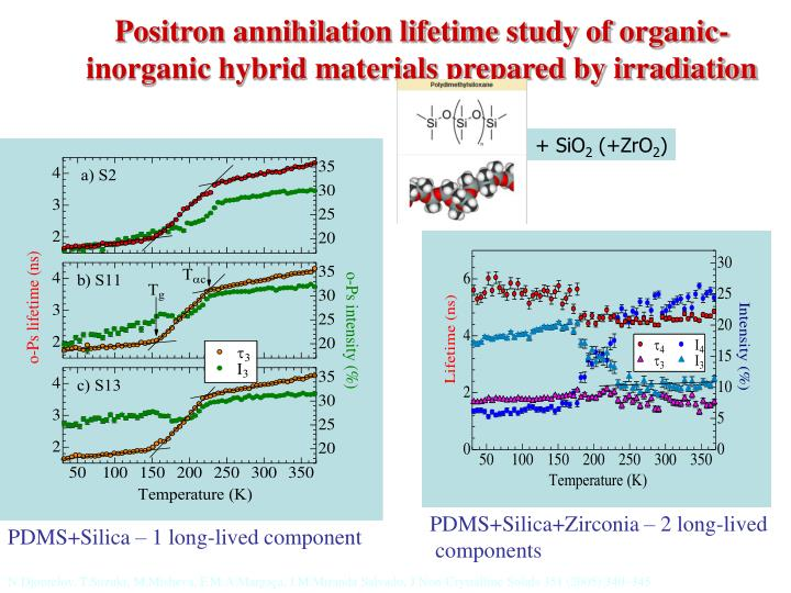 Positron annihilation lifetime study of organic-inorganic hybrid materials prepared by irradiation
