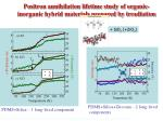 positron annihilation lifetime study of organic inorganic hybrid materials prepared by irradiation