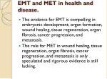 emt and met in health and disease