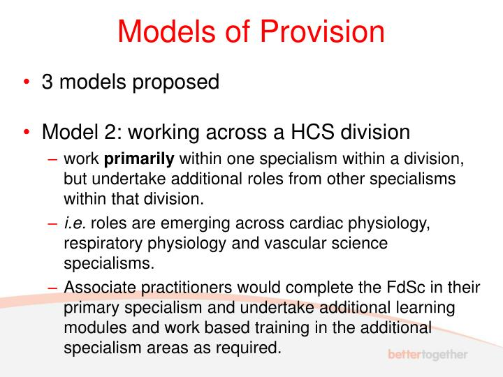 Models of Provision