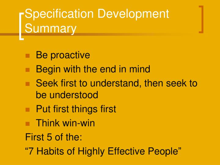Specification Development Summary