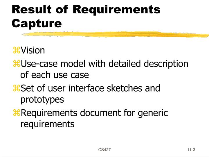 Result of requirements capture
