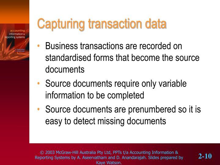 Capturing transaction data