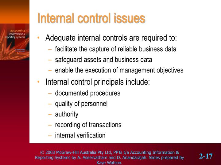 Internal control issues
