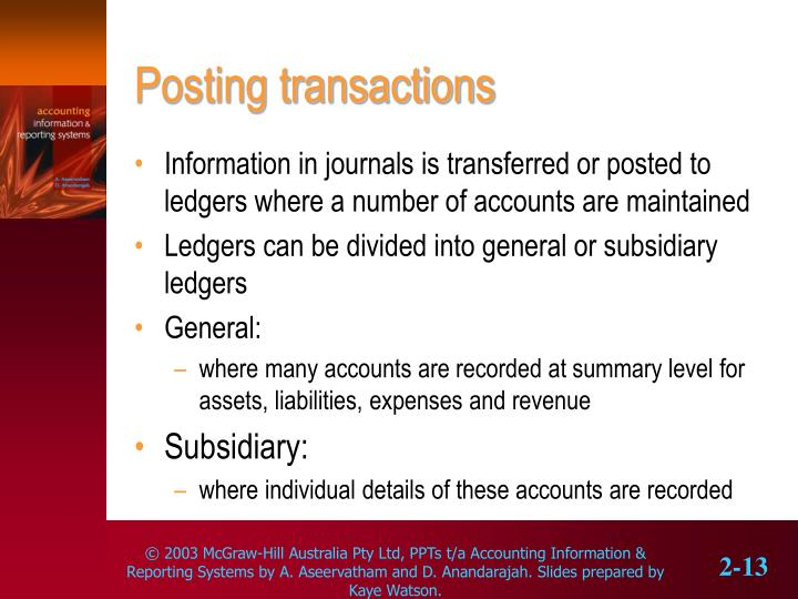 Posting transactions