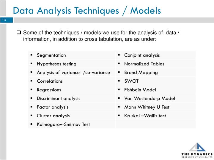 Data Analysis Techniques / Models