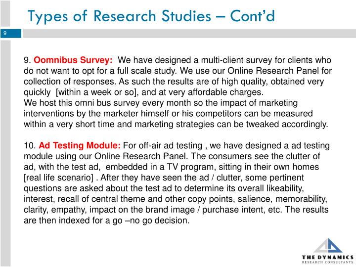 Types of Research Studies – Cont'd
