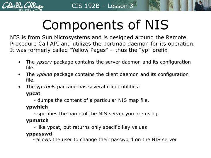 Components of NIS