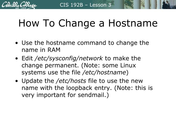 How To Change a Hostname