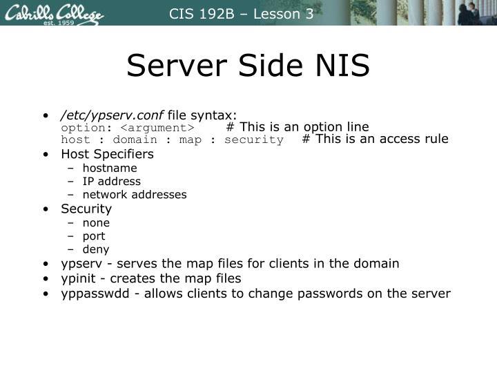 Server Side NIS