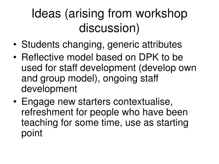 Ideas (arising from workshop discussion)