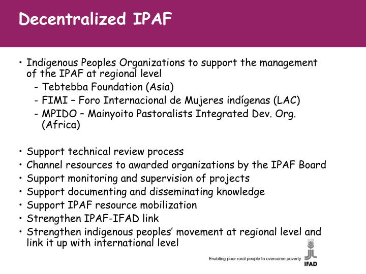 Decentralized IPAF