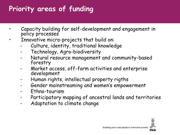 Priority areas of funding
